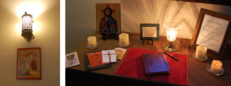 prayer corner and icon